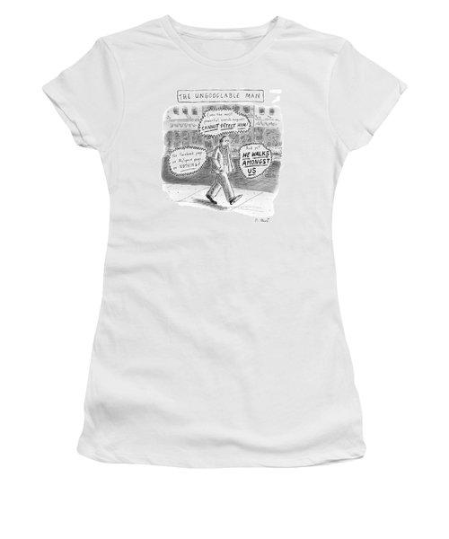 A Man Is Seen Walking Down The Sidewalk With Word Women's T-Shirt