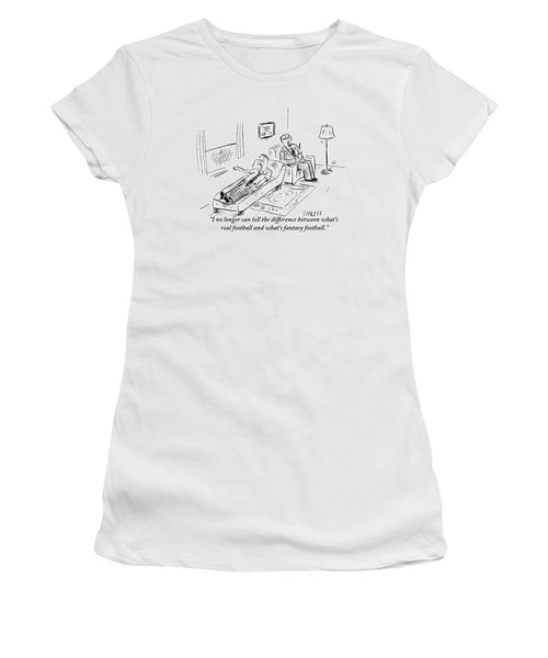 A Man Lying On A Couch Complains Women's T-Shirt