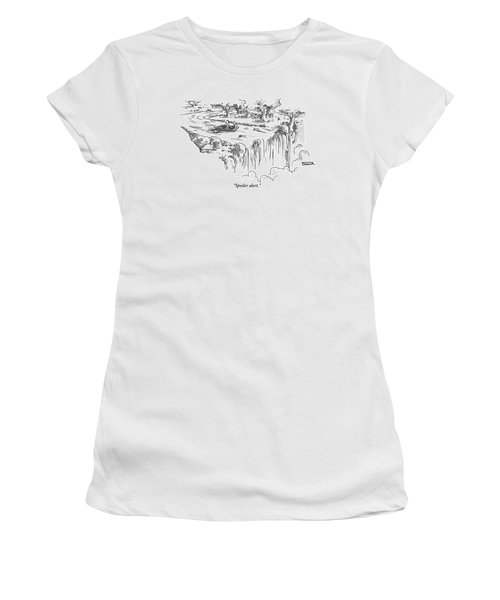 A Man Paddles Backwards In A Small Boat Women's T-Shirt