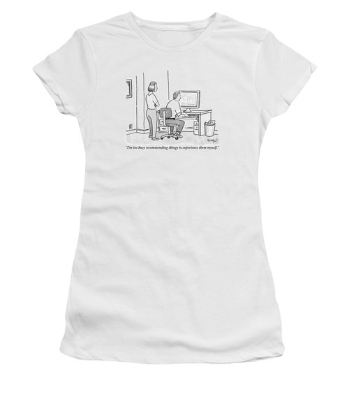 A Man Sits In Front Of His Computer. His Wife Or Women's T-Shirt