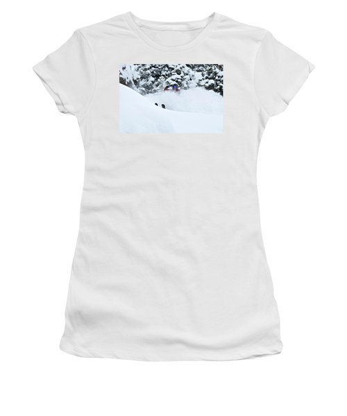 A Man Skis On Teton Pass In Wyoming Women's T-Shirt