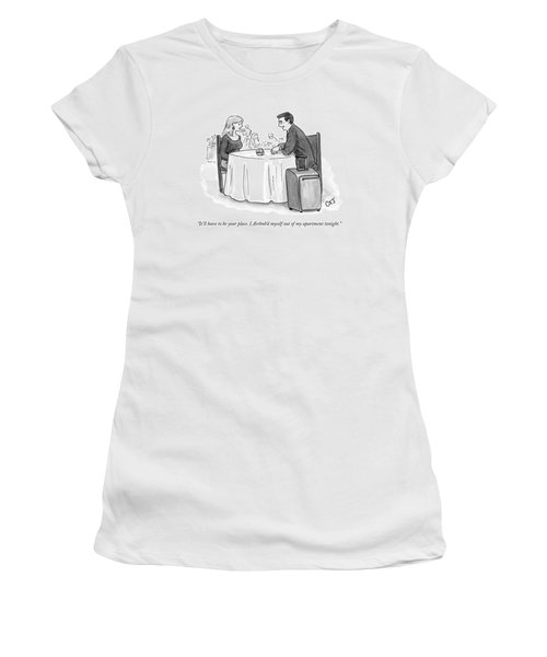 A Man Speaks To A Woman On A Date At A Restaurant Women's T-Shirt