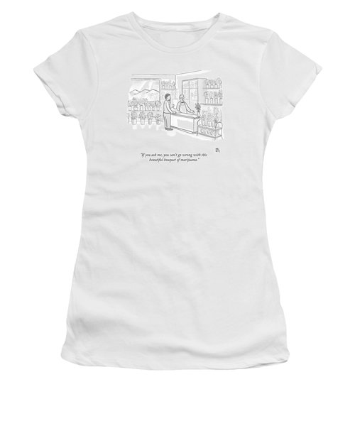 A Man Speaks With An Assistant At A Flower Shop Women's T-Shirt