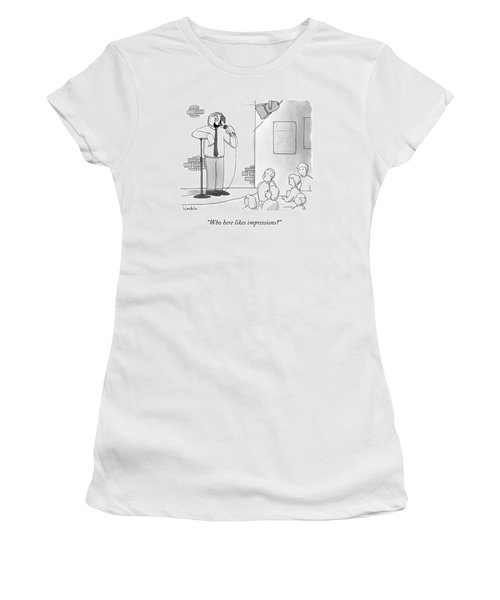 A Man With A Parrot's Head Does Stand Up Comedy Women's T-Shirt