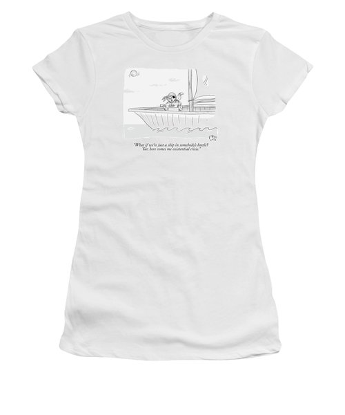 A Pirate In A Ship Holds A Ship In A Bottle Women's T-Shirt