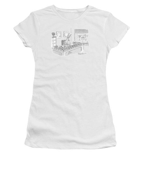 A Rabbit Sits At An Office Desk Women's T-Shirt