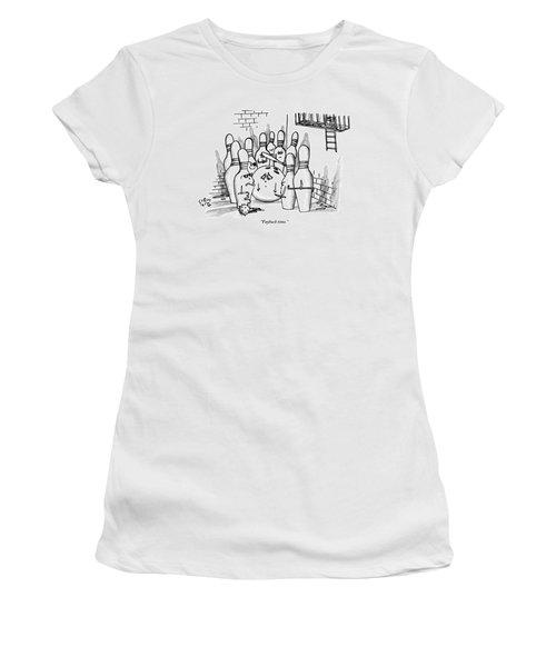 A Rough Gang Of Ten Bowling Pins Holding Weapons Women's T-Shirt