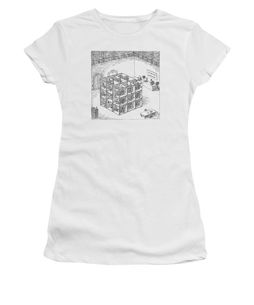A Rubik's Cube Comprised Of Cubicles With Workers Women's T-Shirt