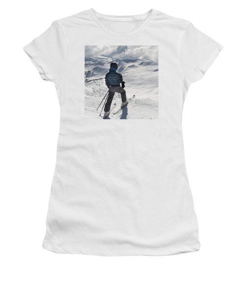 A Skier Pauses On The Trail To Look Out Women's T-Shirt