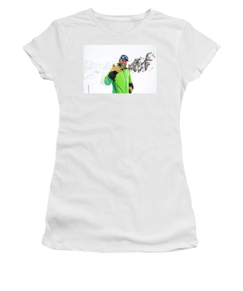 A Skier Smiles During A Sunny Day Women's T-Shirt