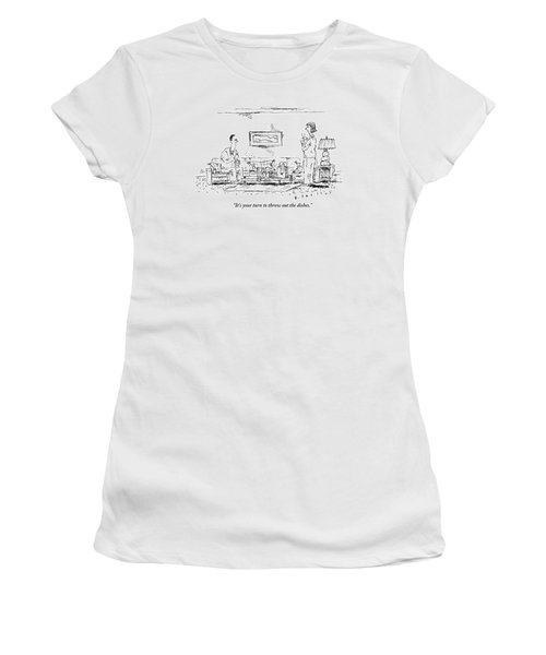 A Standing Woman Speaks To Her Sitting Husband Women's T-Shirt