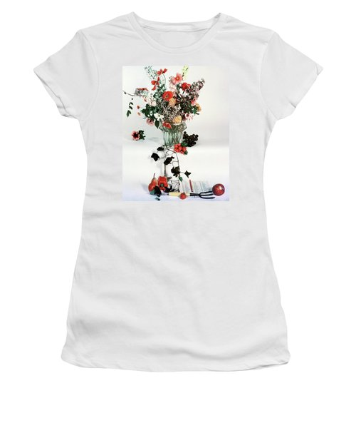 A Studio Shot Of A Vase Of Flowers And A Garden Women's T-Shirt