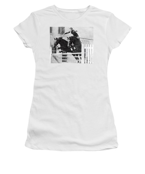 A Stunt Rider On Two Horses. Women's T-Shirt