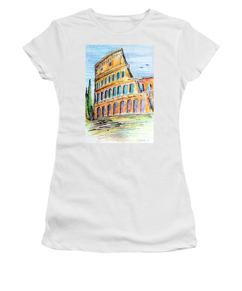 A View Of The Colosseo In Rome Women's T-Shirt (Athletic Fit)
