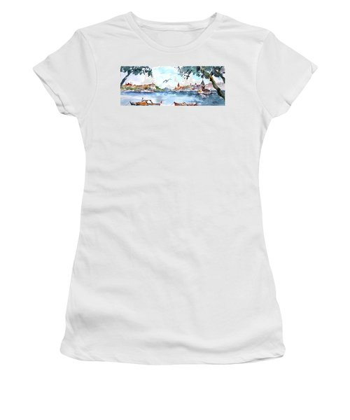 Women's T-Shirt (Junior Cut) featuring the painting A View Of The Historical Peninsula From Uskudar - Istanbul by Faruk Koksal