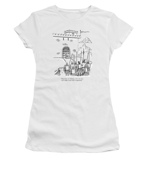 A Viking Army Stands Before A Castle Gate Where Women's T-Shirt