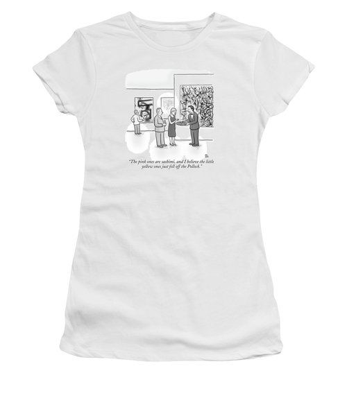 A Waiter Is Seen Speaking With A Woman In An Art Women's T-Shirt