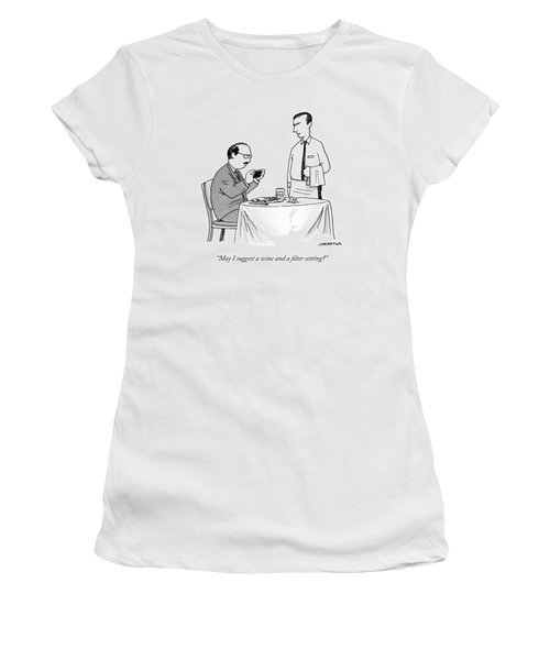 A Waiter Speaks To A Customer Who Is Taking Women's T-Shirt