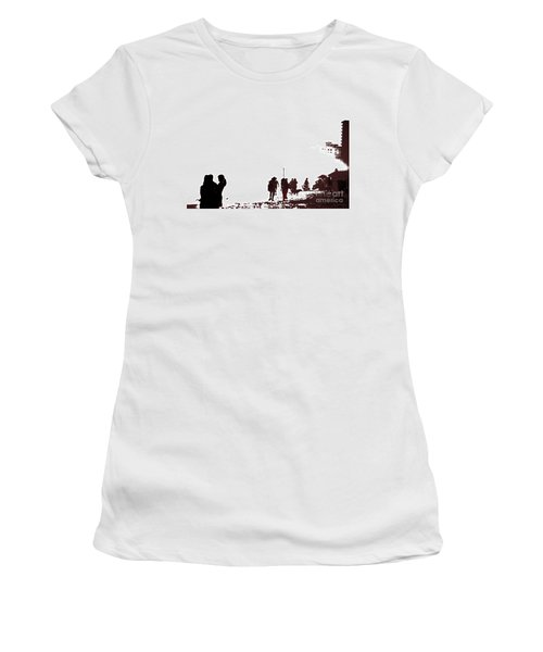 Women's T-Shirt (Junior Cut) featuring the photograph A Walk On The Beach by Gary Smith
