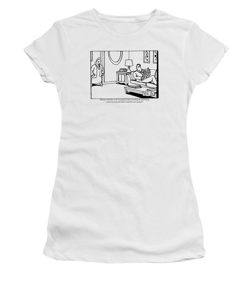A Wife Stands In A Doorway Addressing Her Husband Women's T-Shirt
