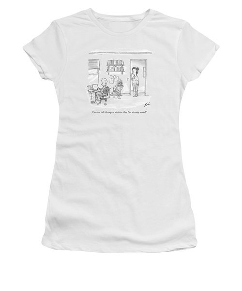 A Woman Addresses Her Husband In His Home Office Women's T-Shirt