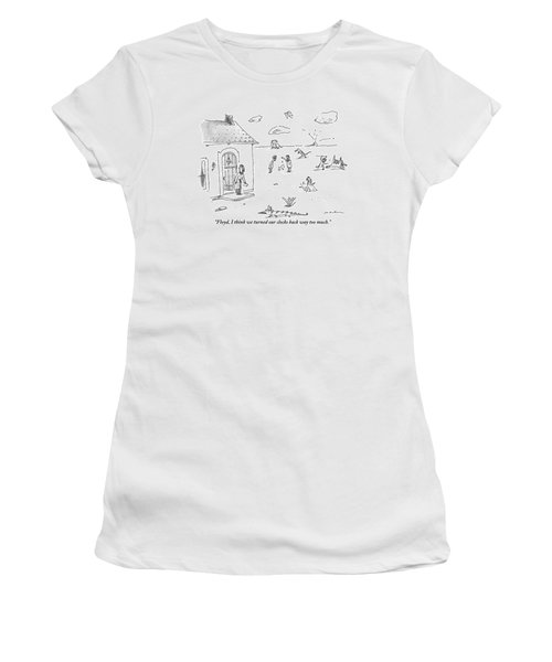 A Woman Bends Down To Pick Up The Newspaper Women's T-Shirt