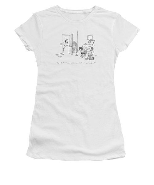 A Woman Interrupting A Cartoonist Working Women's T-Shirt