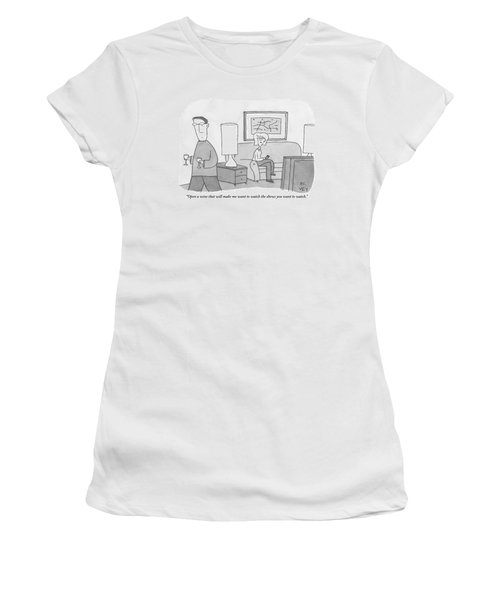 A Woman Seated On A Couch In Front Women's T-Shirt