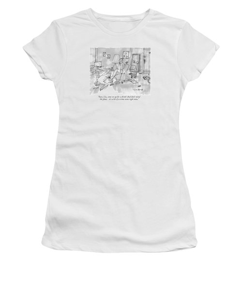 A Woman Smokes A Cigarette And Talks On The Phone Women's T-Shirt