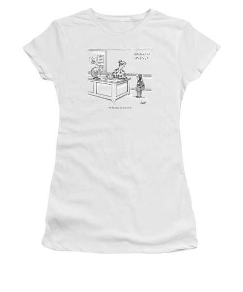 A Young Boy Speaks To His Teacher In A Classroom Women's T-Shirt