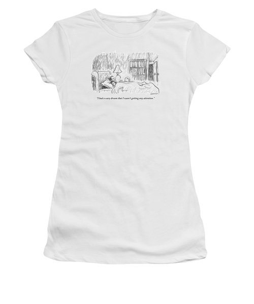 A Young Girl Wakes Up Her Sleeping Parents Women's T-Shirt