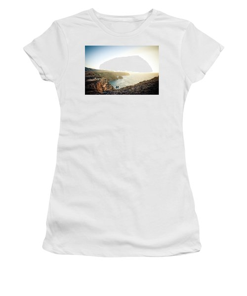 A Young Man Looks Over The Edge Women's T-Shirt