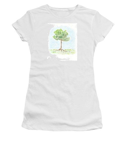 A Young Tree Women's T-Shirt (Junior Cut) by Keiko Katsuta
