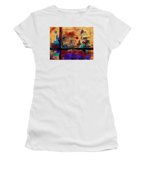 Abstract Yellow Horizontal Women's T-Shirt (Athletic Fit)