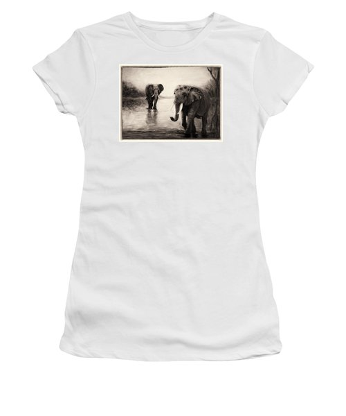 African Elephants At Sunset Women's T-Shirt (Athletic Fit)