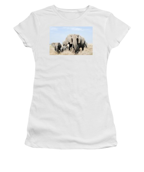 African Elephants In A Forest Women's T-Shirt