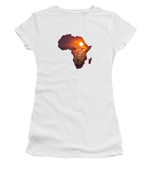 African Wildlife Map Women's T-Shirt (Athletic Fit)