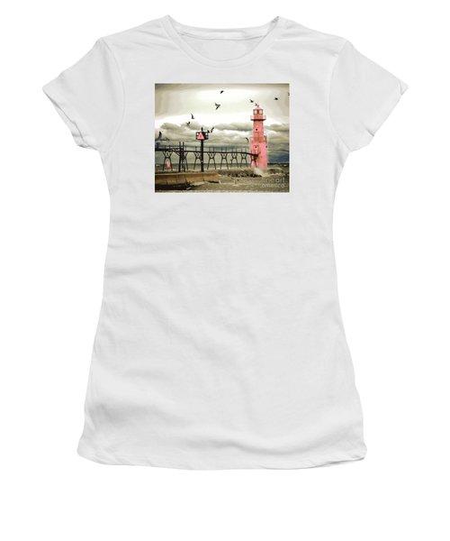 Algoma Pierhead Lighthouse Women's T-Shirt (Athletic Fit)