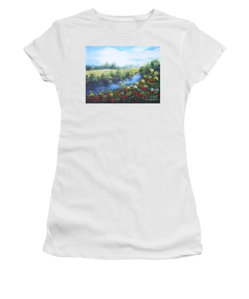 Women's T-Shirt (Junior Cut) featuring the painting Along The Poppy Valley by Vesna Martinjak