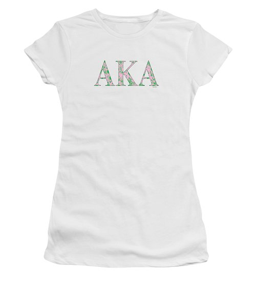 Alpha Kappa Alpha - White Women's T-Shirt (Junior Cut) by Stephen Younts