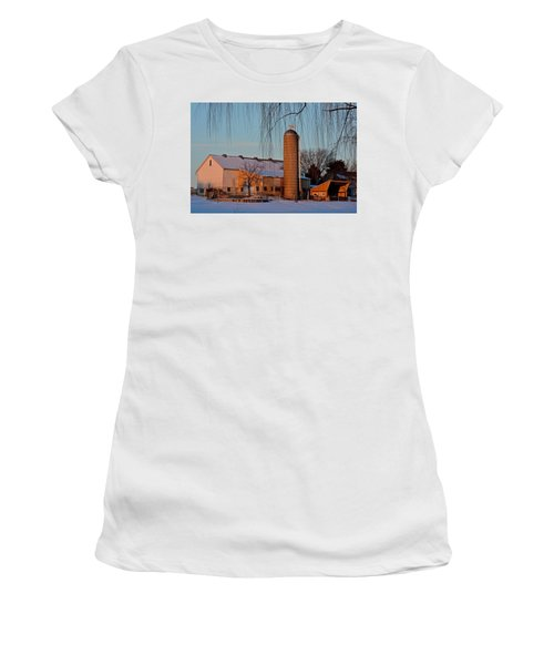 Amish Farm At Turquoise Dusk Women's T-Shirt (Athletic Fit)