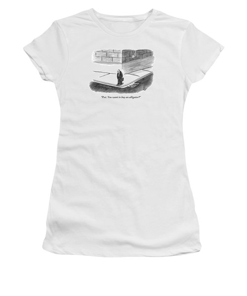 An Angry-looking Man Stands On The Corner Women's T-Shirt