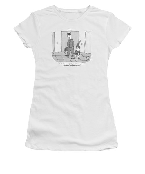 An Elf Carrying Briefcase Says To The Man Women's T-Shirt