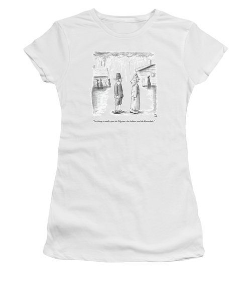 An Indian Chief Speaks To A Pilgrim Women's T-Shirt (Athletic Fit)
