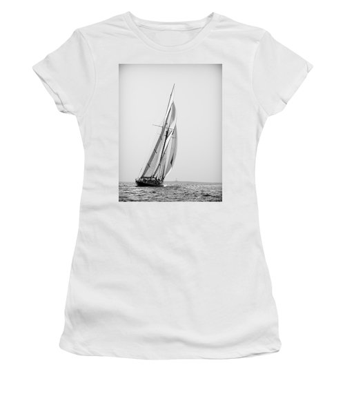 A Tall Ship In Mediterranean Water Approaching To Lighthouse Of Isla Del Aire - Menorca Women's T-Shirt (Athletic Fit)