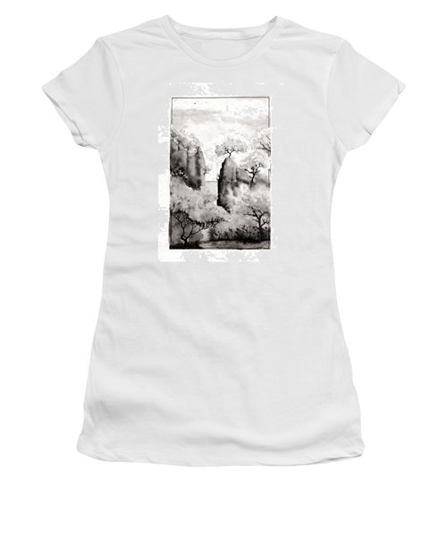 Women's T-Shirt (Junior Cut) featuring the painting Arbres Separes by Marc Philippe Joly