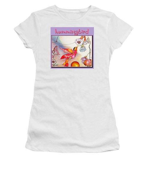 Women's T-Shirt (Junior Cut) featuring the drawing Hummingbird And Flower by Brooks Garten Hauschild