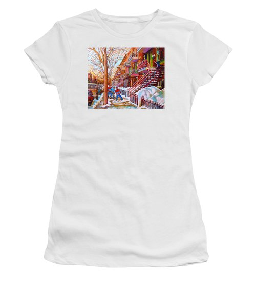 Art Of Montreal Staircases In Winter Street Hockey Game City Streetscenes By Carole Spandau Women's T-Shirt