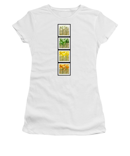 Women's T-Shirt featuring the digital art Aspen Colorado Abstract Vertical 4 In 1 Collection by Andee Design