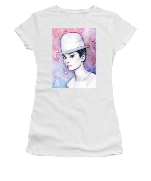 Audrey Hepburn Fashion Watercolor Women's T-Shirt (Junior Cut) by Olga Shvartsur
